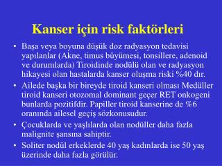 Kanser i in risk fakt rleri