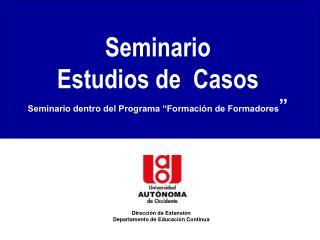 Seminario Estudios de  Casos Seminario dentro del Programa  Formaci n de Formadores