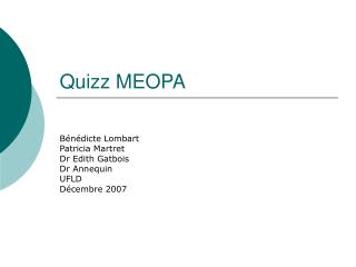 Quizz MEOPA