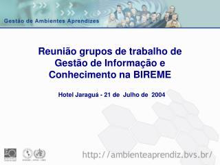 Reuni o grupos de trabalho de Gest o de Informa  o e Conhecimento na BIREME