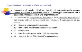 Organizzazione   personalit  e differenze individuali