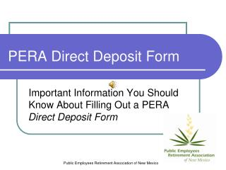 PERA Direct Deposit Form