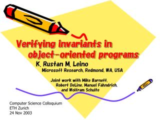 Verifying invariants in     object-oriented programs