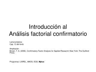 Introducci n al An lisis factorial confirmatorio