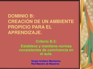 DOMINIO B:  CREACI N DE UN AMBIENTE PROPICIO PARA EL APRENDIZAJE.