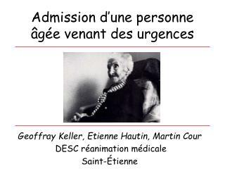 Admission d une personne  g e venant des urgences