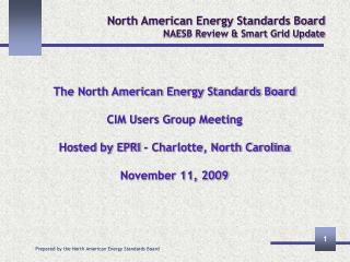 North American Energy Standards Board NAESB Review  Smart Grid Update