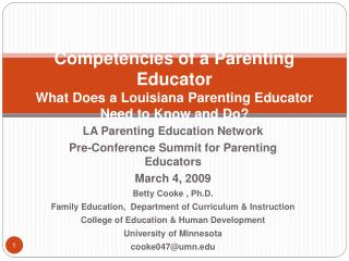 Competencies of a Parenting Educator What Does a Louisiana Parenting Educator  Need to Know and Do