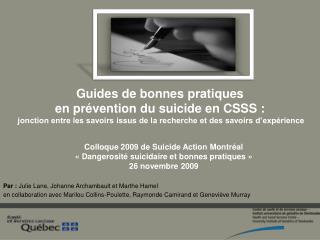 Guides de bonnes pratiques  en pr vention du suicide en CSSS :  jonction entre les savoirs issus de la recherche et des