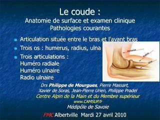 Le coude : Anatomie de surface et examen clinique Pathologies courantes