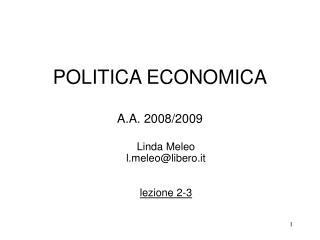 POLITICA ECONOMICA  A.A. 2008