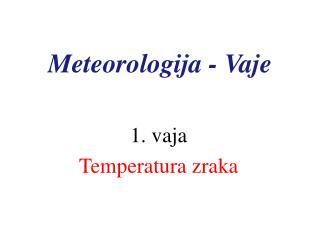 Meteorologija - Vaje