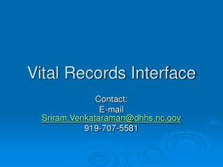 Vital Records Interface