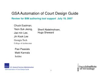 GSA Automation of Court Design Guide Review for BIM authoring tool support  July 19, 2007