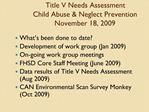Title V Needs Assessment Child Abuse  Neglect Prevention November 18, 2009