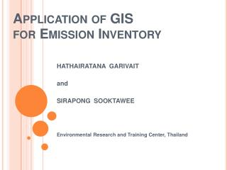 Application of GIS  for Emission Inventory