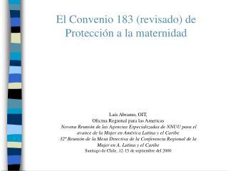 El Convenio 183 revisado de Protecci n a la maternidad