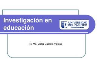 Investigaci n en educaci n