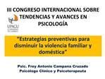 III CONGRESO INTERNACIONAL SOBRE TENDENCIAS Y AVANCES EN PSICOLOG A
