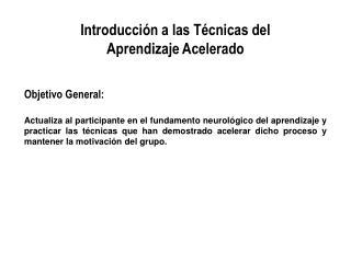 Introducci n a las T cnicas del Aprendizaje Acelerado