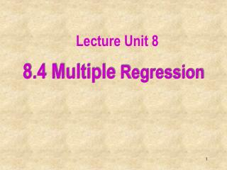 8.4 Multiple Regression