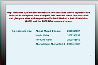 Bay Bithaman Ajil and Murabahah are two contracts where payments are deferred to an agreed time. Compare and contrast th