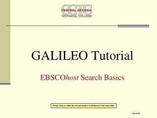 GALILEO Tutorial  EBSCOhost Search Basics