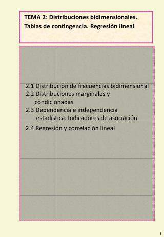 TEMA 2: Distribuciones bidimensionales. Tablas de contingencia. Regresi n lineal