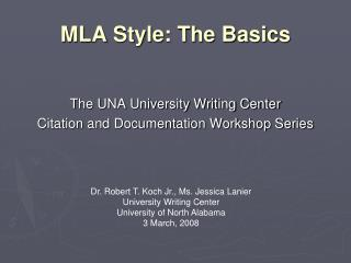 MLA Style: The Basics