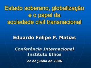 Estado soberano, globaliza  o e o papel da  sociedade civil transnacional