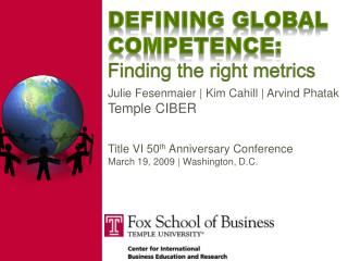 Defining Global Competence: Finding the right metrics