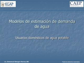 Modelos de estimaci n de demanda de agua