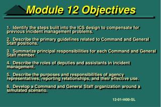 Module 12 Objectives