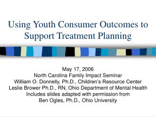 Using Youth Consumer Outcomes to Support Treatment Planning