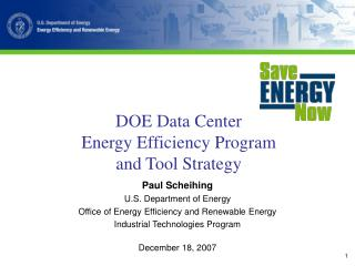 DOE Data Center  Energy Efficiency Program  and Tool Strategy