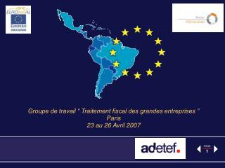 Groupe de travail   Traitement fiscal des grandes entreprises   Paris 23 au 26 Avril 2007