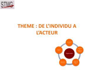 THEME : DE L INDIVIDU A L ACTEUR