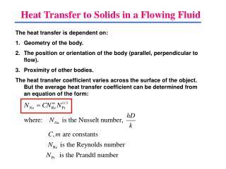 Heat Transfer to Solids in a Flowing Fluid