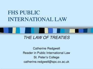 FHS PUBLIC INTERNATIONAL LAW