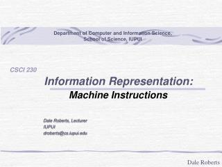 Information Representation:         Machine Instructions