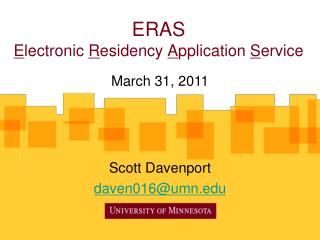 ERAS Electronic Residency Application Service