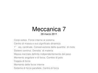 Meccanica 7 28 marzo 2011