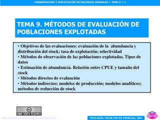 TEMA 9. M TODOS DE EVALUACI N DE POBLACIONES EXPLOTADAS