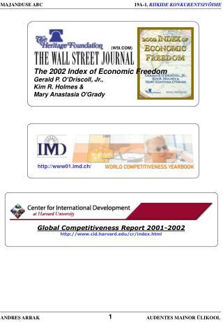 The 2002 Index of Economic Freedom  Gerald P. O Driscoll, Jr., Kim R. Holmes  Mary Anastasia OGrady