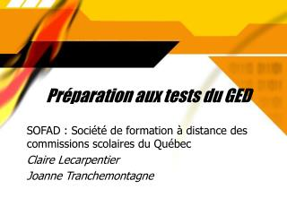 Pr paration aux tests du GED