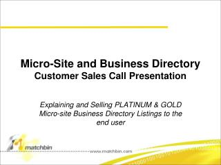 Micro-Site and Business Directory Customer Sales Call Presentation