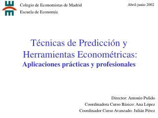 T cnicas de Predicci n y  Herramientas Econom tricas: Aplicaciones pr cticas y profesionales