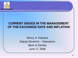 Denny H. Kalyalya Deputy Governor   Operations Bank of Zambia June 17, 2008