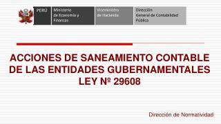 ACCIONES DE SANEAMIENTO CONTABLE DE LAS ENTIDADES GUBERNAMENTALES LEY N  29608
