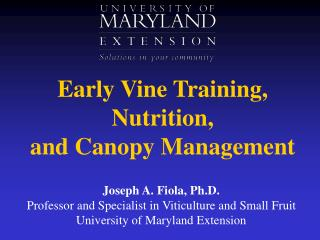 Early Vine Training, Nutrition,  and Canopy Management